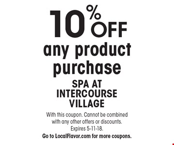 10% OFF any product purchase. With this coupon. Cannot be combined with any other offers or discounts. Expires 5-11-18. Go to LocalFlavor.com for more coupons.