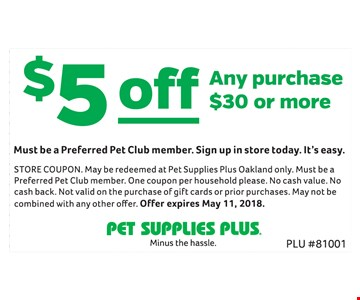 $5 Off Any Purchase $30 or more
