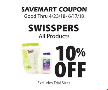 10% Off Swisspers All Products. SAVEMART COUPON Good Thru 4/23/18- 6/17/18