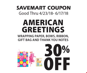 Localflavor savemart coupons savemart 30 off american greetings wrapping paper bows ribbon gift bag m4hsunfo Choice Image