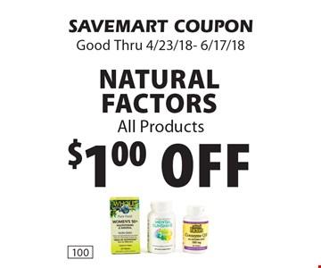 $1.00 off Natural Factors All Products. SAVEMART COUPON Good Thru 4/23/18- 6/17/18