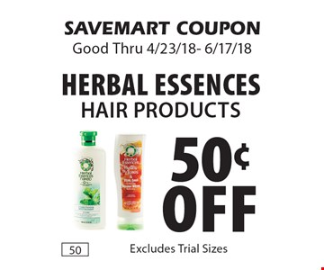 50¢ off Herbal Essences Hair Products. SAVEMART COUPON Good Thru 4/23/18- 6/17/18