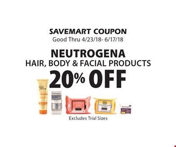 20% Off Neutrogena Hair, Body & Facial Products. SAVEMART COUPON Good Thru 4/23/18- 6/17/18