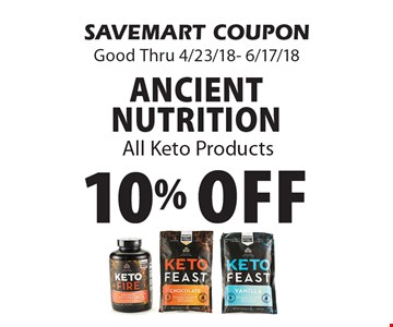 10% Off Ancient Nutrition All Keto Products. SAVEMART COUPON Good Thru 4/23/18- 6/17/18