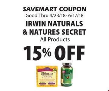 15% Off irwin Naturals & Natures Secret All Products. SAVEMART COUPON Good Thru 4/23/18- 6/17/18