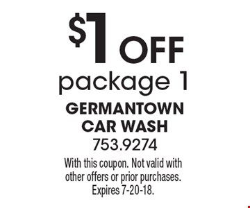 $1 Off package 1. With this coupon. Not valid with other offers or prior purchases. Expires 7-20-18.