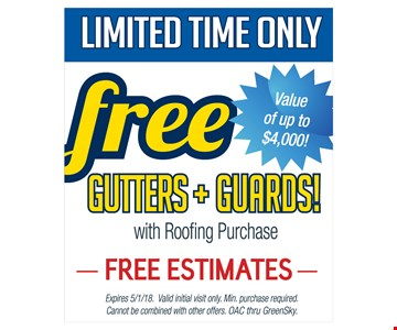 Free gutters and guards with roofing purchase