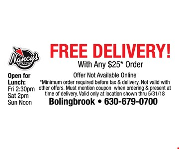 free delivery with any $25 order