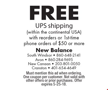 FREE UPS shipping (within the continental USA) with reorders or 1st-time phone orders of $50 or more. Must mention this ad when ordering. One coupon per customer. Not valid with other offers or prior purchases. Offer expires 5-25-18.