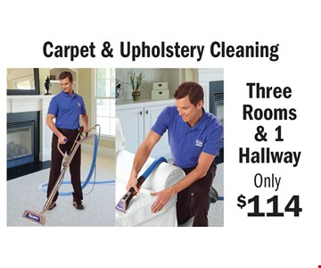 Only $114 Carpet & Upholstery Cleaning Three Rooms & 1 Hallway some restrictions may apply. An area is defined as a room up to 300 square feet. Combination areas and areas over 300 square feet are considered as separate areas. Baths, staircases, landings, halls, walk-in closets and area rugs are priced separately. Valid for residential areas only. Prices may vary for specialty fabrics, loose back cushions, wool and oriental carpet and special services. Air duct pricing valid on single furnace homes only. Extra charge may apply for homes with multiple heating/cooling systems or homes with furnace or vents that are not easily accessible. Not responsible for existing broken tiles and or loose grout. Energy savings may vary depending on the size of your home and the condition of your heating/cooling system. Offer/service not available in all areas. Minimum order may apply. Other restrictions may apply. Call for details. Not valid with any other coupon or offer. Void where prohibited. Services supplied by Sears associates or franchisees. Sears cards are issued by Citibank (South Dakota) N.A. A temporary fuel charge may be added. Offers expire 6-30-18.