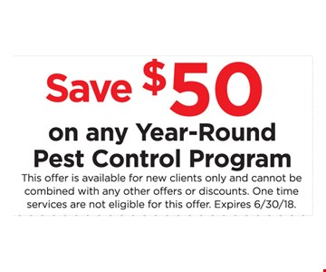 Save $50 on any Year- Round Pest Control Program