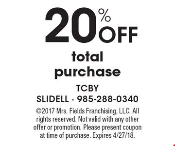 20% Off total purchase. 2017 Mrs. Fields Franchising, LLC. All rights reserved. Not valid with any other offer or promotion. Please present coupon at time of purchase. Expires 4/27/18.