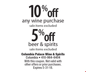 10% off any wine purchase sale items excluded. 5% off beer & spirits sale items excluded. With this coupon. Not valid with other offers or prior purchases. Expires 5-31-18.