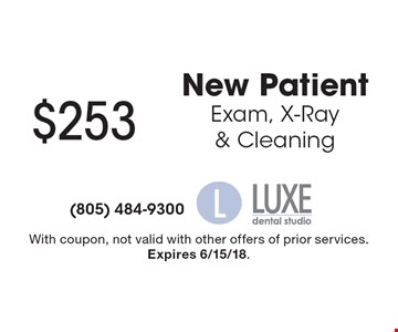 $253 New Patient Exam, X-Ray & Cleaning. With coupon, not valid with other offers of prior services. Expires 6/15/18.