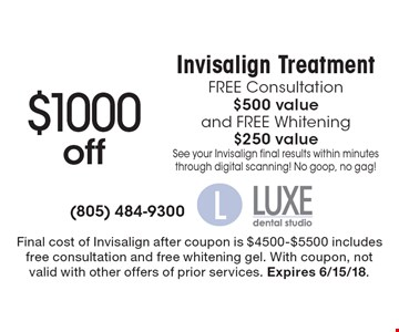 $1000 off Invisalign Treatment. FREE Consultation, $500 value, and FREE Whitening, $250 value. See your Invisalign final results within minutes through digital scanning! No goop, no gag! Final cost of Invisalign after coupon is $4500-$5500 includes free consultation and free whitening gel. With coupon, not valid with other offers of prior services. Expires 6/15/18.