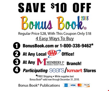 Save $10 off Regular Price $28, With This Coupon Only. $18 4 Easy Ways To Buy. *Free Shipping. While supplies last Bonus Book valid now through December 31, 2018.