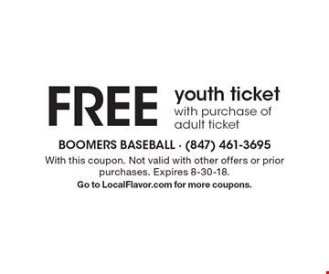 FREE youth ticket with purchase of adult ticket. With this coupon. Not valid with other offers or prior purchases. Expires 8-30-18.Go to LocalFlavor.com for more coupons.