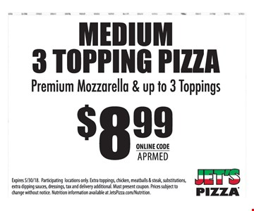 MEDIUM 3 TOPPING PIZZA Premium Mozzarella & up to 3 Toppings