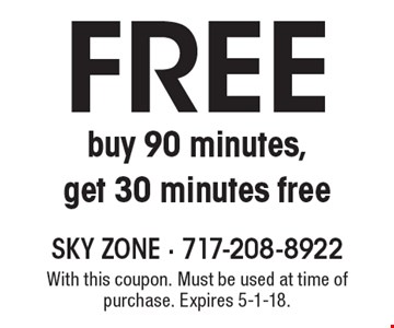 Free 30 minutes. Buy 90 minutes, get 30 minutes free. With this coupon. Must be used at time of purchase. Expires 5-1-18.