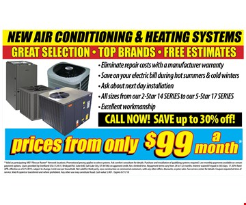 new air conditioning and heating systems prices from only $99 a month