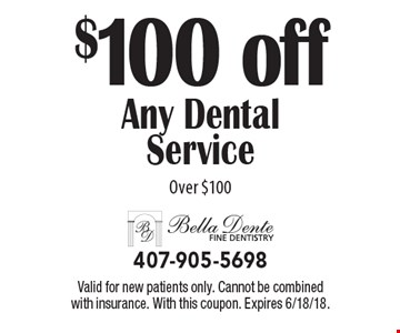 $100 off Any Dental Service Over $100. Valid for new patients only. Cannot be combined with insurance. With this coupon. Expires 6/18/18.