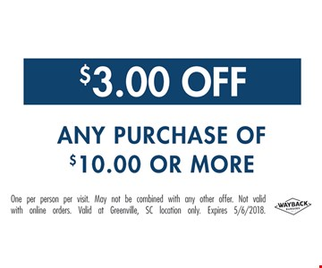 $3 off any $10 purchase.