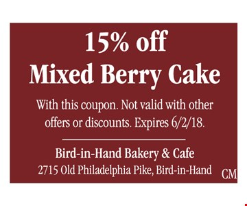 15% off mixed berry cake