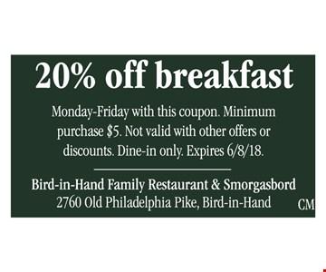 20% off breakfast