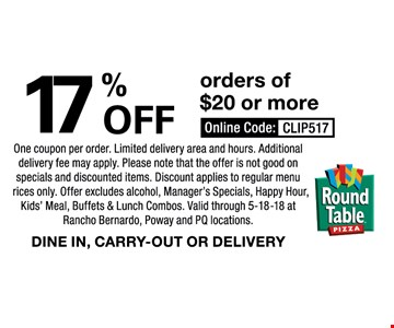 17% off orders of $20 or more