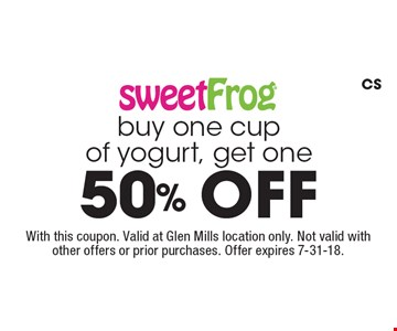 Buy one cup of yogurt, get one 50% off. With this coupon. Valid at Glen Mills location only. Not valid with other offers or prior purchases. Offer expires 7-31-18. CS
