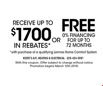 Receive up to $1700 FREE in rebates *0% financing for up to 