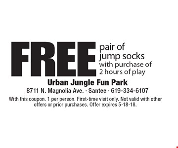 Free pair of jump socks with purchase of 2 hours of play. With this coupon. 1 per person. First-time visit only. Not valid with other offers or prior purchases. Offer expires 5-18-18.