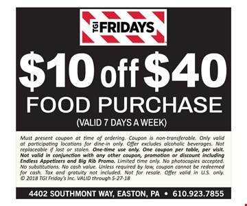 $10 off a $40 food purchase