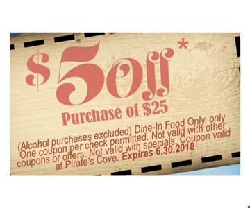 (Alcohol purchases excluded) Dine-In Food Only. Only one coupon per check permitted. Not valid with other coupons or offers. Not valid with specials. Coupon valid at Pirate's Cove.