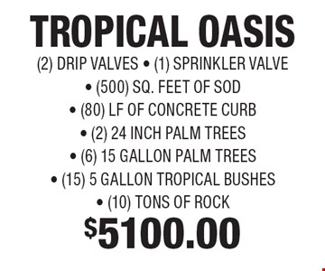 $5100.00 TROPICAL OASIS (2) DRIP VALVES - (1) SPRINKLER VALVE - (500) SQ. FEET OF SOD - (80) LF OF CONCRETE CURB- (2) 24 INCH PALM TREES - (6) 15 GALLON PALM TREES - (15) 5 GALLON TROPICAL BUSHES - (10) TONS OF ROCK.
