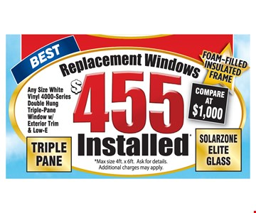 $455 replacement windows installed triple pane