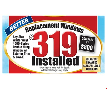 Better $319 replacement windows installed