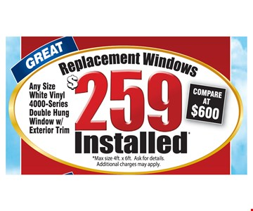 Great $259 replacement windows installed