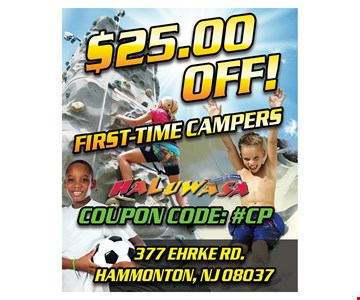 $25 off first time campers