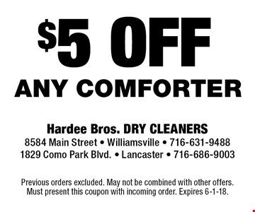 $5 off any comforter. Previous orders excluded. May not be combined with other offers. Must present this coupon with incoming order. Expires 6-1-18.