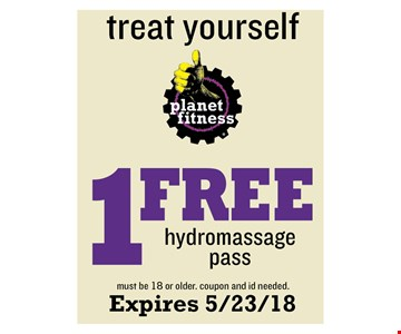 1 Free hydromassage Pass - must be 18 or older. coupon and id needed. Expires 5/23/18
