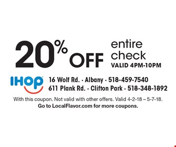 20% Off entire check. Valid 4pm-10pm. With this coupon. Not valid with other offers. Valid 4-2-18 - 5-7-18. Go to LocalFlavor.com for more coupons.