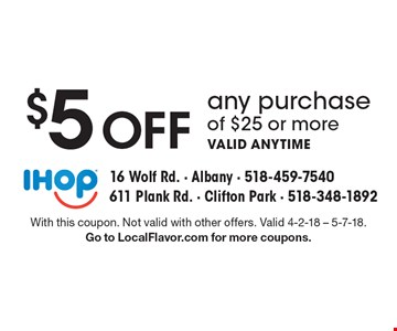 $5 Off any purchase of $25 or more. Valid anytime. With this coupon. Not valid with other offers. Valid 4-2-18 - 5-7-18. Go to LocalFlavor.com for more coupons.