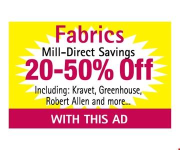Fabrics Mill-Direct Savings 20-50% off