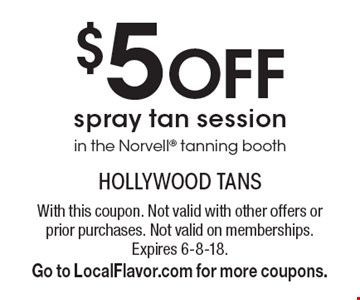 $5 Off spray tan session in the Norvell tanning booth. With this coupon. Not valid with other offers or prior purchases. Not valid on memberships. Expires 6-8-18. Go to LocalFlavor.com for more coupons.
