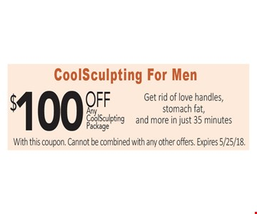 $100 Off any CoolSculpting Package for Men