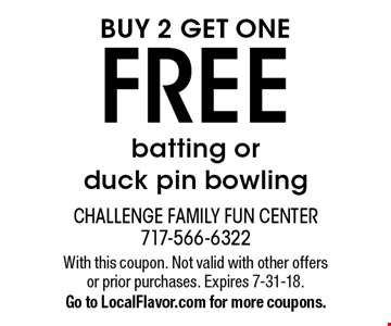 Buy 2 get one free batting or duck pin bowling. With this coupon. Not valid with other offers or prior purchases. Expires 7-31-18. Go to LocalFlavor.com for more coupons.