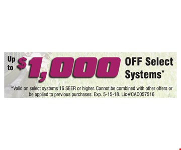 Up to $1000 Off Select Systems