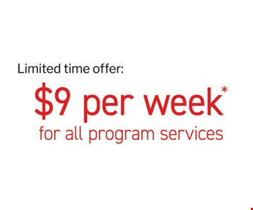 All program services for $9 per week.