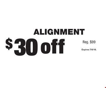 $30 off ALIGNMENT (Reg. $99). Expires 7/6/18.
